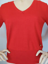 NEW ESCADA KNIT SIZE S WOMENS SWEATER RED VIRGIN WOOL AND SILK