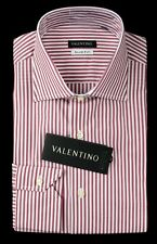 Men's VALENTINO Red White Striped Cotton Slim Fit Dress Shirt 16 41 L NWT $245!