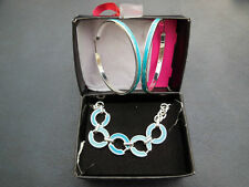 AVON 'SAQ' Silver Turquoise Circle Necklace Hoop Earring Set BNWB
