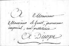 GENEALOGIE LETTRE BAULDRY DE BELLENGREVILLE MAIRE LE GUEST PROCUREUR DIEPPE 1811