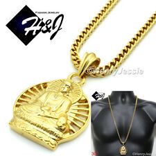 """30""""MEN Stainless Steel 4.5mm Gold Franco Box Chain Necklace BUDDHA Pendant*GP61"""