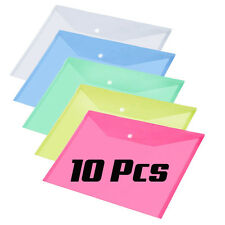 Pack of 10 Assorted Plastic Stud Document File Wallet Folder Filing Paper Pocket