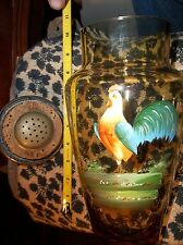 VINTAGE AMBER GLASS JAR MINT PAINTED ROOSTER HUMIDOR IN CORK -RARE -COOKIE TEA