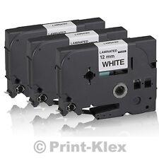 3x Premium Schriftbänder für Brother P-Touch-1000-F TZE-231 TZ-231 12MM x 8M