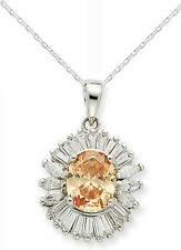 Fancy Sterling Silver Topaz Color CZ Pendant w/Chain - Gift Boxed - Free Ship