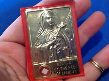 Vintage St Therese of Lisieux Relic under glass Metal Saint Little Flower Icon