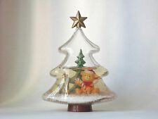 Vintage Christmas Tree Shaped Snow Globe with Teddy Bear & Reindeer #28