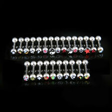 25 Logo Surgical Steel Tongue Bar Ring Barbell Piercing ED