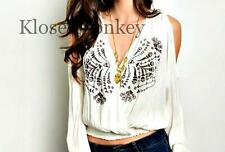 SEXY COLD SHOULDER IVORY TAUPE EMBROIDERY LOW CUT FESTIVAL BOHO BLOUSE TOP S
