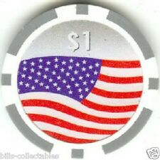 7 pc 7 colors 11.5 gm AMERICAN FLAG poker chip samples set #139