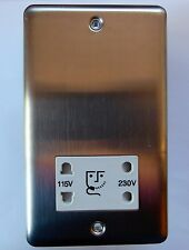 NEWLEC NLBS8965 BRUSHED STAINLESS STEEL SHAVER SOCKET 230 V  115 V