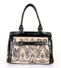 MIU MIU Black Crinkle Effect Leather & Pink Damask Print Canvas Tote Bag