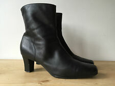 MARKS & SPENCER LADIES BLACK LEATHER ANKLE BOOTS UK6