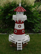 Sonderpreis Leuchtturm 1,15m Höhe Kiefer rot/weiß mit elektr Beleuchtung Neu