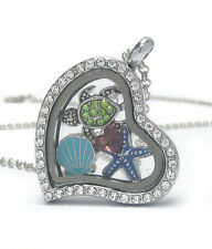 """ORIGAMI-STYLE Sealife Turtle Clam Star Floating Charm Heart Locket 24"""" Necklace"""