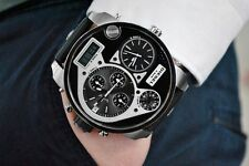 NEW MENS DIESEL (DZ7125) BIG DADDY BLACK LEATHER STRAP SILVER TONE WATCH