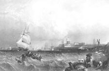 PORTSMOUTH HARBOUR BOATS SHIPS IN STORM WAVES, 1855 Seascape Art Print Engraving