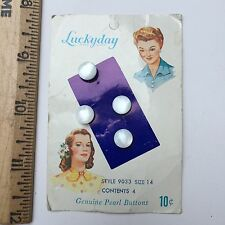 Antique LUCKYDAY Pearl Shell Buttons On BEAUTIFUL Lady Design Original Card C16