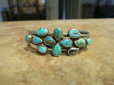 OLD Pawn NAVAJO Sterling Silver Turquoise CLUSTER Cuff Bracelet