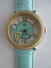 Judith Ripka GoldTone Blue Odyssey Diamonique Stainless Steel Leather Watch NWOT