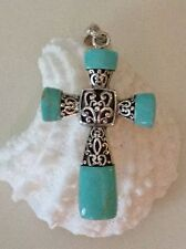 "New Turquoise Blue Cross Pendant Set in .925 Sterling Silver Filagree 1.75"" NWOT"
