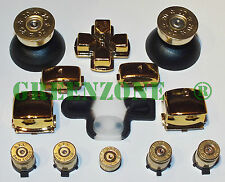 PS3 Controller Full Chrome Gold Mod Kit + Brass Bullet Buttons,Thumbs,Home