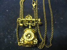 VINTAGE PHONE WITH RHINESTONES HOLLOW PENDANT NECKLACE  COMBINED SHIPPING