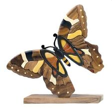 Butterfly Table Top Decor Intarsia Wood Art Figurine New