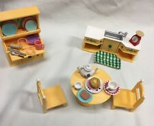 Calico Critters 31 Lot Kitchen Set Dining Table Chairs China Cabinet Dishes Food