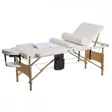 "84""L 3 Fold Massage Table Portable Facial Bed W/ Sheet Bolsters Carry Case Cream"