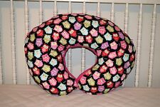 NEW BOPPY PILLOW COVER M/W PINK OWLS & PINK FLEECE FABRIC