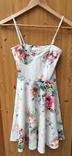 TOPSHOP Oh my love FLOWER WHITE PRINT BODYCON DRESS SIZE XS Short Pink corset