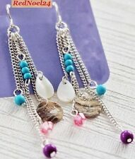 Pretty Fashionable Silver Plated Colorful Shell Beads Long Drop Hippie Earrings
