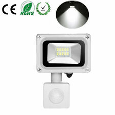 10W Cool White LED Flood Light + PIR Motion Sensor Outdoor Garden Security Lamp