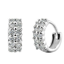 Korean fashion hypoallergenic Charm Double White Clear CZ Crystal Hoop Earrings