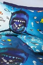 Reversible Shark Duvet Cover Set Single Size Navy Blue Sea Aquarium Fishes Fish