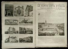 1894 = LE CENTO CITTA D'ITALIA = SALUZZO = PIEMONTE  ITALIA.ETNA.SONZOGNO