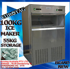 EUROTAG HEAYV DUTY COMMERCIAL ICE MAKER MACHINE 100KG 24h 55KG ICE STORAGE SAVE