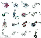 Crystal Mix Design Dangle Navel Belly Button Bar Barbell Ring Body Piercing New