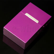 Purple Men Women Aluminum Flip Open Top 20 Pieces Cigarette Case Holder HW