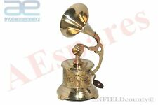NEW GRAMOPHONE PHONOGRAPH SMALL BRASS VINTAGE LOOK NAUTICAL HOME DECOR @AEs