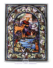 """CHRISTIAN GIFT--New Glassmasters """"ST. FRANCIS OF ASSISI"""" Stained Glass 9"""" X 7"""""""