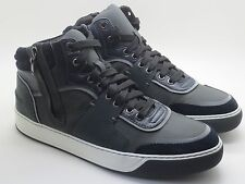 New $890 Lanvin Mid-Top Zippered Sneakers Anthracite/Navy Size 10 UK US 11