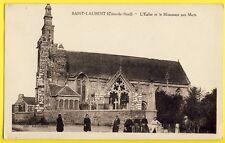 cpa Rare Bretagne SAINT LAURENT (Côte d'Armor) L'EGLISE et le MONUMENT aux MORTS