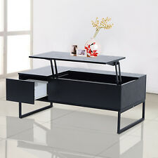 HOMCOM Tea Table Lift Top Coffee Wood Storage Tray Living Room Furniture Black