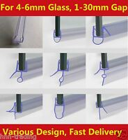 New Bath Shower Screen Rubber Plastic Seal 4-6mm Glass Door Curved Flat