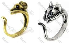 MOUSE RING wrap animal rings DAINTY MICE large sizes VINTAGE BRASS/SILVER PLTD
