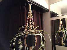 "Short Macrame Plant Hanger 30"" SAND 3 Red Beads"