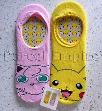 FREE NEXT-DAY POKEMON Pikachu Invisible SOCKS Foot Shoe Liners Ladies Pika UK