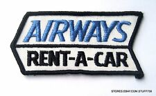 "AIRWAYS RENT A CAR EMBROIDERED SEW ON PATCH ADVERTISING UNIFORM 4"" x 1 7/8"""